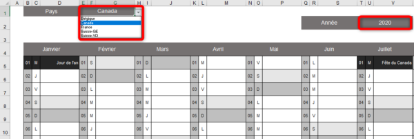 Calendrier Excel 2020